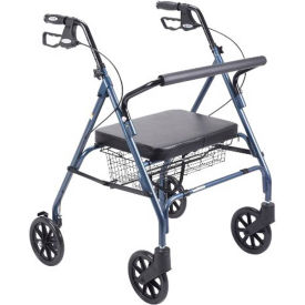 10215BL-1 Heavy Duty Bariatric Rollator Walker with Large Padded Seat, Blue