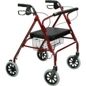 10215RD-1 Heavy Duty Bariatric Rollator Walker with Large Padded Seat, Red