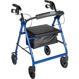 "R726BL Aluminum Rollator with 6"" Casters, Fold Up and Removable Back Support, Padded Seat, Blue"