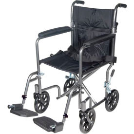 "TR39E-SV Lightweight Steel Transport Wheelchair, 19""W Seat, Silver Vein Frame and Black Upholstery"