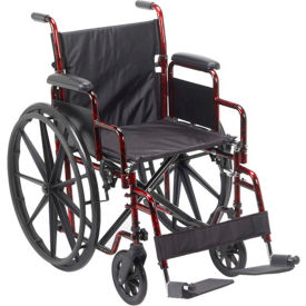 "RTLREB18DDA-SF Rebel Wheelchair with Removable Desk Arms, Swing-away Footrests, 18"" Seat, Red Frame"
