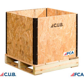"fca wooden crate collapsible 1/2"" cdx plywood verison 24""l x 24""w x 24-1/2""h - qty 5-9"