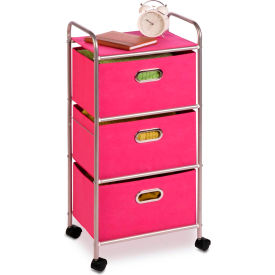 "3 fabric drawer rolling cart - 16-1/8""l x 11-1/2""w x 35-1/2""h - pink 3 Fabric Drawer Rolling Cart - 16-1/8""L x 11-1/2""W x 35-1/2""H - Pink"