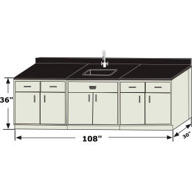 "hemco® atlantis sink base cabinet grouping, 108""w x 30""d x 36""h, white HEMCO® Atlantis Sink Base Cabinet Grouping, 108""W x 30""D x 36""H, White"