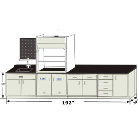 "hemco® apollo base cabinet grouping with se airestream fume hood, 192""w x 30""d x 95""h HEMCO® Apollo Base Cabinet Grouping with SE AireStream Fume Hood, 192""W x 30""D x 95""H"