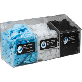 5123 Horizon Mfg. 3-Compartment Clear Hair Net/Beard Cover/Shoe Cover/Arm Protector Dispenser