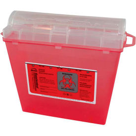 "Bemis® 5-Quart Sharps Container, 10""H x 11""W x 5-1/4""D, Transparent Red"