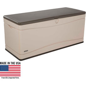 Lifetime 60012 Outdoor Deck Storage Bench Box 130 Gallon, Sand w/Brown Lid