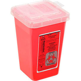 "7350 1-Quart Phlebotomy Sharps Container, Dual Openings, 6-7/16""H x 4-1/4""W x 4-1/4""D, Red"