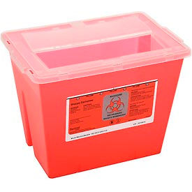 "7352 2-Gallon Multi-Purpose Sharps Container, 11-5/8""W x 7-3/4""D x 8-5/8""H, Red"