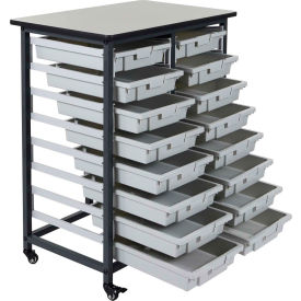 "luxor mobile bin cart with sixteen 3""h totes mbs-dr-16s - gray/black, 19-3/4""l x 30-1/2""w x 37-1/4""h Luxor Mobile Bin Cart with Sixteen 3""H Totes MBS-DR-16S - Gray/Black, 19-3/4""L x 30-1/2""W x 37-1/4""H"