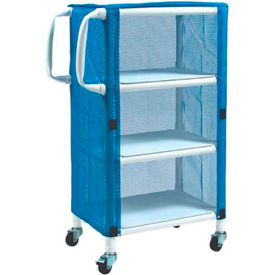 "graham-field 8523 pvc linen cart with blue mesh cover, small 3-shelf, 33""w x 20""d x 51-1/4""h Graham-Field 8523 PVC Linen Cart with Blue Mesh Cover, Small 3-Shelf, 33""W x 20""D x 51-1/4""H"