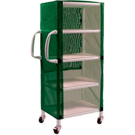 "graham-field 8524 pvc linen cart with green mesh cover, small 4-shelf, 33""w x 20""d x 65-1/2""h Graham-Field 8524 PVC Linen Cart with Green Mesh Cover, Small 4-Shelf, 33""W x 20""D x 65-1/2""H"