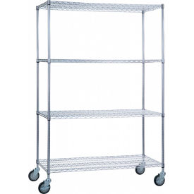 "r&b wire products lc184872 mobile linen cart with 4 wire shelves, 48""l x 18""w x 78""h R&B Wire Products LC184872 Mobile Linen Cart with 4 Wire Shelves, 48""L x 18""W x 78""H"