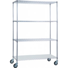"r&b wire products lc244872sol linen cart with 3 wire shelves & solid bottom shelf, 48""l x 24""w x78""h R&B Wire Products LC244872SOL Linen Cart with 3 Wire Shelves & Solid Bottom Shelf, 48""L x 24""W x78""H"