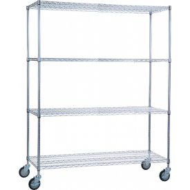 "r&b wire products lc246072 mobile linen cart with 4 wire shelves, 60""l x 24""w x 78""h R&B Wire Products LC246072 Mobile Linen Cart with 4 Wire Shelves, 60""L x 24""W x 78""H"