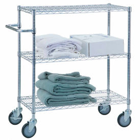 "r&b wire products uc1836 mobile linen cart with 3 wire shelves, 36""l x 18""w x 42""h R&B Wire Products UC1836 Mobile Linen Cart with 3 Wire Shelves, 36""L x 18""W x 42""H"