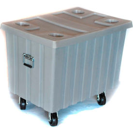 "Myton Bulk Shipping Poly Container MTE-2H5HL With Lid and Casters 41""L x 28-1/4""W x 32-1/2""H, Blue"