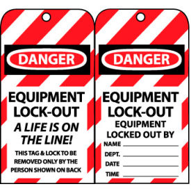 LOTAG18 Lockout Tags - Equipment Lock-Out A Life Is On The Line