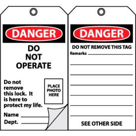 OLPT22 Self-Laminating Lockout Tags - Do Not Operate with Picture