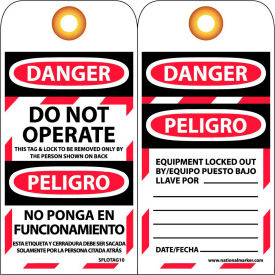 SPLOTAG10 Bilingual Lockout Tags - Do Not Operate - Bloqueado No Ponga En Funcionamiento