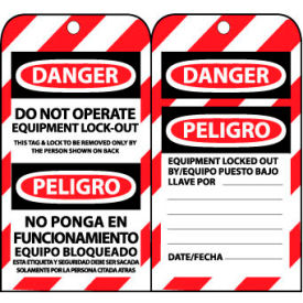 SPLOTAG11 Bilingual Lockout Tags - Do Not Operate Equipment Lock-Out