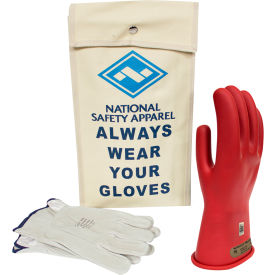 arcguard® class 00 arcguard rubber voltage glove kit, red, size 9, kitgc00r09