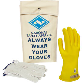 arcguard® class 00 arcguard rubber voltage glove kit, yellow, size 10, kitgc00y10