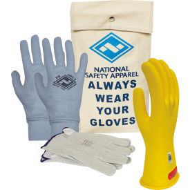 arcguard® class 0 arcguard rubber voltage glove premium kit, yellow, size 8, kitgc0y08ag