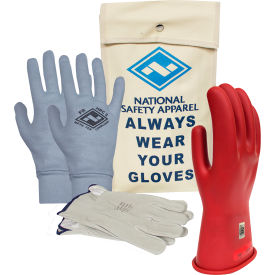 arcguard® class 0 arcguard rubber voltage glove premium kit, red, size 9, kitgc0r09ag