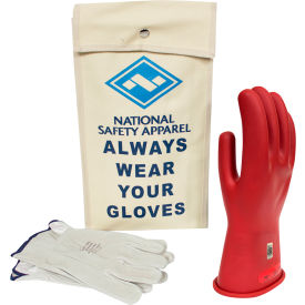 arcguard® class 0 arcguard rubber voltage glove kit, red, size 10, kitgc0r10
