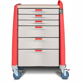 capsa healthcare avalo® standard emergency cart, 6 drawers, core lock, 1 handle, red Capsa Healthcare Avalo® Standard Emergency Cart, 6 Drawers, Core Lock, 1 Handle, Red