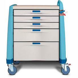 capsa healthcare avalo® compact emergency cart, 5 drawers, breakaway lock, 1 handle, blue Capsa Healthcare Avalo® Compact Emergency Cart, 5 Drawers, Breakaway Lock, 1 Handle, Blue