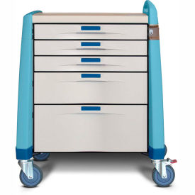 capsa healthcare avalo® compact emergency cart, 5 drawers, core lock, 1 handle, blue Capsa Healthcare Avalo® Compact Emergency Cart, 5 Drawers, Core Lock, 1 Handle, Blue