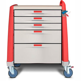 capsa healthcare avalo® compact emergency cart, 5 drawers, breakaway lock, 1 handle, red Capsa Healthcare Avalo® Compact Emergency Cart, 5 Drawers, Breakaway Lock, 1 Handle, Red