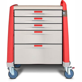 capsa healthcare avalo® compact emergency cart, 5 drawers, core lock, 1 handle, red Capsa Healthcare Avalo® Compact Emergency Cart, 5 Drawers, Core Lock, 1 Handle, Red