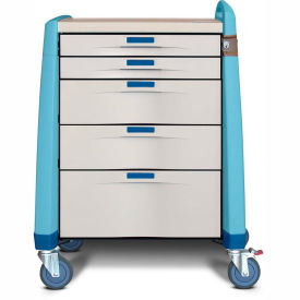 capsa healthcare avalo® intermediate emergency cart, 5 drawers, core lock, 1 handle, blue Capsa Healthcare Avalo® Intermediate Emergency Cart, 5 Drawers, Core Lock, 1 Handle, Blue
