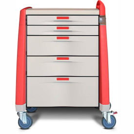 capsa healthcare avalo® intermediate emergency cart, 5 drawers, core lock, 1 handle, red Capsa Healthcare Avalo® Intermediate Emergency Cart, 5 Drawers, Core Lock, 1 Handle, Red