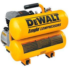 D55153 DeWALT; D55153, 1.1 HP, Hand Carry, 4 Gallon, Twin Stack, 125 PSI, 4 CFM, 1-Phase 120V