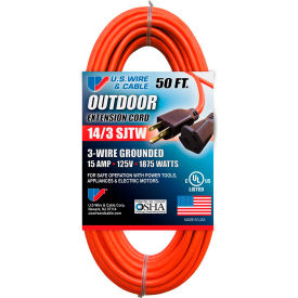 63050 U.S. Wire 63050 50 Ft. Three Conductor Orange Extension Cord, 14/3 Ga. SJTW-A, 300V, 15A