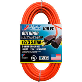 65100 U.S. Wire 65100 100 Ft. Three Conductor Orange Extension Cord, 12/3 Ga. SJTW-A, 15A