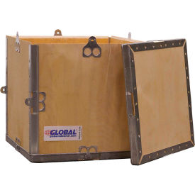 "global industrial™ 4-panel hinged shipping crate with lid, 12"" x 12"" x 12"" o.d. Global Industrial™ 4-Panel Hinged Shipping Crate with Lid, 12"" x 12"" x 12"" O.D."