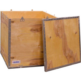 "global industrial™ 4-panel hinged shipping crate with lid, 24"" x 24"" x 24"" o.d. Global Industrial™ 4-Panel Hinged Shipping Crate with Lid, 24"" x 24"" x 24"" O.D."