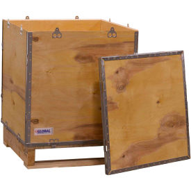 "global industrial™ 4-panel hinged shipping crate with lid & pallet, 24"" x 24"" x 28-3/4"" o.d. Global Industrial™ 4-Panel Hinged Shipping Crate with Lid & Pallet, 24"" x 24"" x 28-3/4"" O.D."