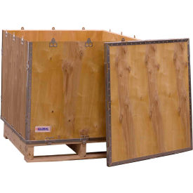 "global industrial™ 4-panel hinged shipping crate with lid & pallet, 30"" x 30"" x 30"" o.d. Global Industrial™ 4-Panel Hinged Shipping Crate with Lid & Pallet, 30"" x 30"" x 30"" O.D."