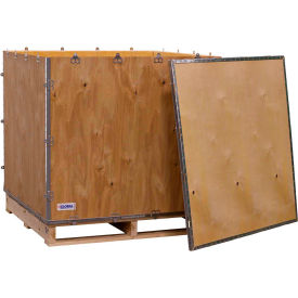 "global industrial™ 4-panel hinged shipping crate with lid & pallet, 40"" x 40"" x 40"" o.d. Global Industrial™ 4-Panel Hinged Shipping Crate with Lid & Pallet, 40"" x 40"" x 40"" O.D."