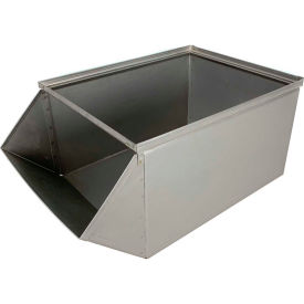 "stackbin® stainless steel stacking hopper front container, 15""w x 24""d x 11""h Stackbin® Stainless Steel Stacking Hopper Front Container, 15""W x 24""D x 11""H"