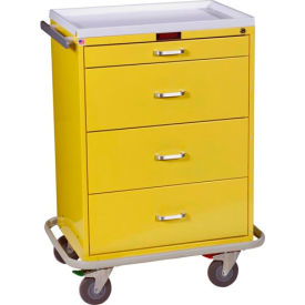 harloff classic line tall four drawer isolation cart standard package, yellow - 6520 Harloff Classic Line Tall Four Drawer Isolation Cart Standard Package, Yellow - 6520