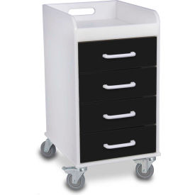 "trippnt™ 51146 compact 4 drawer locking medical cart, black, 14""w x 19""d x 27""h TrippNT™ 51146 Compact 4 Drawer Locking Medical Cart, Black, 14""W x 19""D x 27""H"