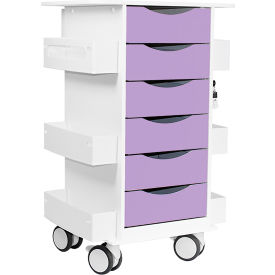 "trippnt™ core locking 6 drawer lab cart, 23""w x 19""d x 35""h, gum drop purple TrippNT™ Core Locking 6 Drawer Lab Cart, 23""W x 19""D x 35""H, Gum Drop Purple"